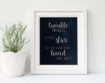 Twinkle Twinkle Little Star, Twinkle Twinkle Little Star Do You Know How Loved You Are, Nursery Print, Nursery Printable, Moon and Stars