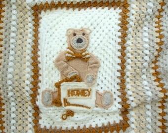 Crochet Baby Blanket Picture Teddy Bear  Baby Afghan Kids and Baby Shower Gift. Crochet Animal Blanket. Cream, Gold, Beige.