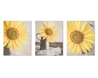 Sunflower Photo, Shabby Chic Wall Art, Sunflower Still Life, Sunflower Print Set, Yellow Wall Gallery, Set of 3, Modern Rustic Sunflower Art