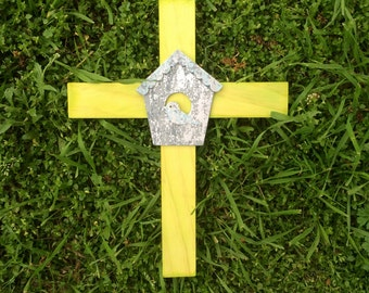 Colored stain lime green cross with birdhouse