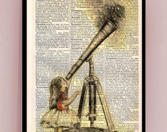 Girl looking at the stars through a telescope wall decoration, digital print on rustic dictionary pages