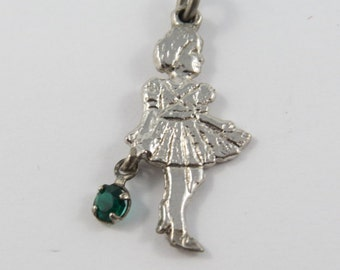 Small Girl Carrying Enameled Green Purse Silver Charm or Pendant.