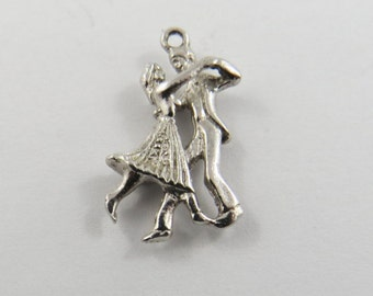 Couple Dancing  Sterling Silver Charm or Pendant.