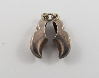 Pair of Clogs Sterling Silver Charm or Pendant.