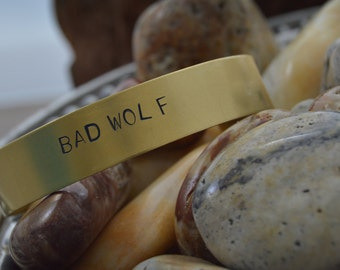 Bad Wolf Doctor Who Brass Stamped Bracelet