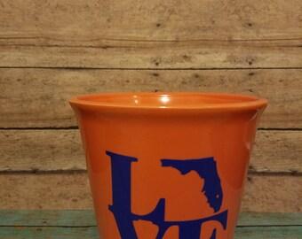 Orange and blue Florida love planter pot