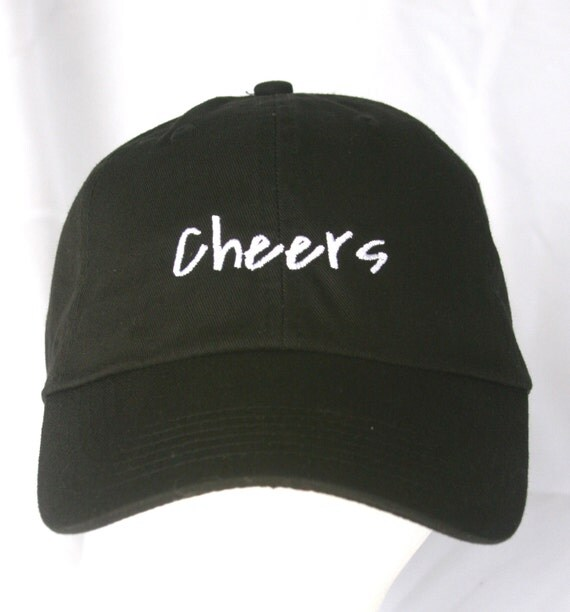 Cheers - Polo Style Ball Cap (Black with White Stitching)