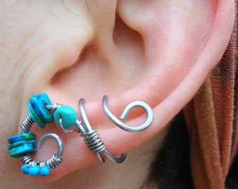 Stainless steel spiral tribal style earcuff, turquoise