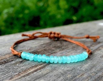 Dainty Friendship Bracelet / Cord Bracelet / Gemstone Beaded Bracelet / Aquamarine Jade Gemstone with Caramel Wax Co