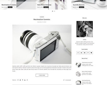 Premade Blogger Template - Responsive Premade Template - Clean Minimalist template - Slide Show - Photography Fashion Blogspot Theme