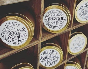 25 + Hour Affirmation Gold Travel Tins / Bestseller / gold / Soy Candle / Positivity / Affirmations / Gifts / Australian Made