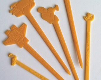Vintage Continental Swizzle Sticks, Airline Swizzle Sticks, 1960s, All Continental Air Line, Cities, Figural, Set of 6