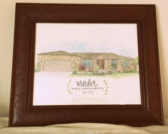 Custom, Custom Watercolor, Custom Home, Illustration, Housewarming Gift