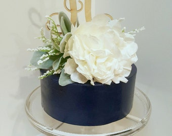 Ivory Peony Cake Topper- Paper Peony, Wedding Cake Flower, Bridal Shower Cake Topper, Baby Shower, Paper Peony