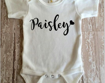 Personalized Name Infant Bodysuit | Baby Girls Name Bodysuit | Personalized Bodysuit | Personalized Name Baby Clothing