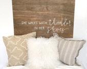 Wooden headboard // Wood headboard // Calligraphy wood sign // Dorm room decor // Bedroom decor