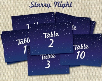 Puple & Blue Starry Night Wedding Table Name Signs 1-10 Instant Printable Digital Download