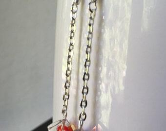 Cube Earrings, Cube Dangle Earrings, Glass Cube Earrings, Silver Chain Earrings, Chain Earrings, Long Dangle Earrings, Cube Jewelry