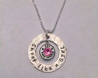 Stamped Bullet Necklace ~ Shoot like a GIRL Sterling Silver Necklace ~ Washer with 9mm Luger & Swarovski Crystal Birthstone ~ Bullet Jewelry