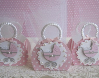 Baby Girl Favor Boxes, Pink Baby Favor Boxes, Pink Baby Shower Favor Boxes, Baby Shower Favor Boxes, Baby Buggy Favor Boxes. Set of 10.
