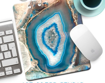 Turquoise Agate Gemstone Mouse Pad, Geode Mousepad, Marble Mouse Pad, Turquoise Blue Stone MousePad, Boho Marble Accessory