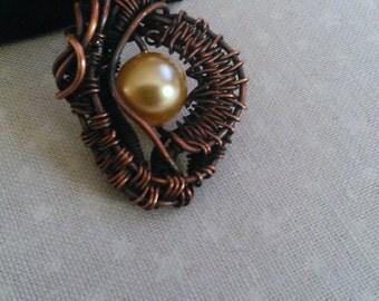 wire wrapped pendant , swarovsky pearl pendant , handmade pendant , handmade jewelry