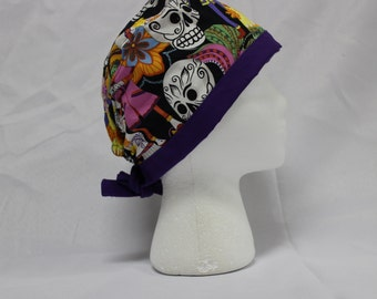 Día de Muertos Day of the Dead Sugar Skull Surgical Scrub Cap Dentist Vet Chemo Hat