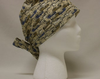 Nautical Ships Beige and Blue Surgical Scrub Cap Chemo Dental Hat