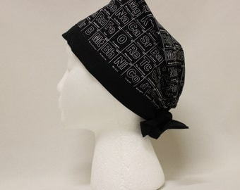 Table of Elements Black and White Science Surgical Scrub Cap Chemo Dental Hat