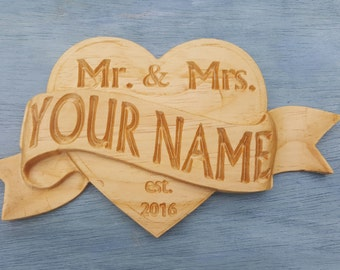 Personalized Carved Solid Wood Heart