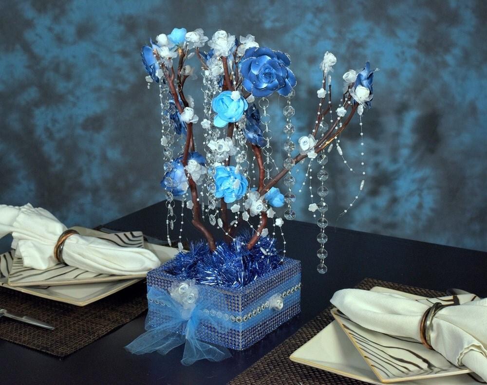 Inches blue natural manzanita tree wedding centerpiece