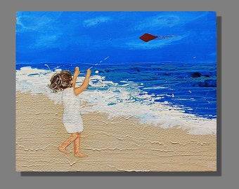 SALE. Abstract Beach Acrylic Painting, Original Seascape, 'Red Kite' Size 30 x 24 inches.