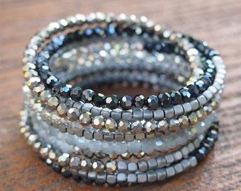 Black crystal Wrap bracelet, Boho Wrap Bracelet, Beadwork bracelet