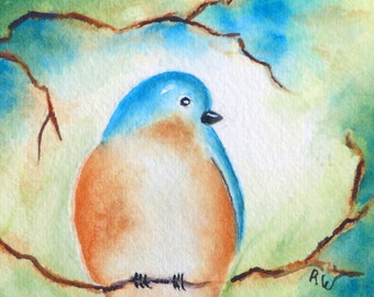 ACEO Print, ACEO Watercolor Card, Matted Miniature Art, Artist Trading Card, Collectible Illustration, ACEO Bluebird Print, Garden Bird