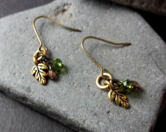 SALE Brass Leaves | Glass Beads | Earrings