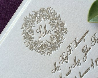 Sample Peony Wreath wedding invitation, letterpress gold ink
