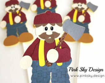 Free Shipping- 12 Woodsman cupcake toppers | Lumberjack birthday party or baby shower decor | woodland, rustic, Little red riding hood picks
