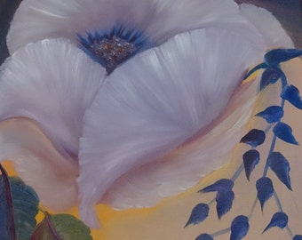 Floral Oil Painting - Purple Poppy - An Original Floral Oil Painting by Wendy Margrave