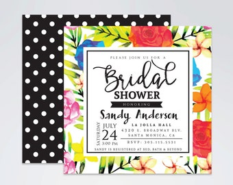 Colorful Floral Print Bridal Shower Invitation, Summer Bridal Shower Invitation, Elegant Floral Print, 5x5 Digital File, Printable