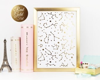 Gold Constellation Print, Nursery Art, Constellation Poster, Kids Room Art, Print Art, Kids illustration, Ursa Major, Real Gold Foil,