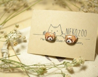 Red panda earrings Tiny jewelry cute earrings with linen cotton bag