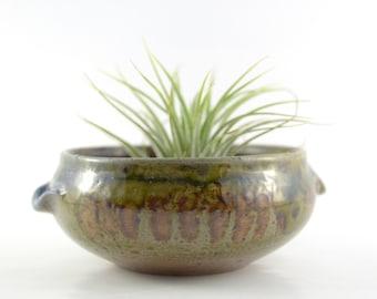 Vintage Planter, Earth Tone Glazed Pottery Planter with Handles,Small Stoneware Pot Planter,Albert Greiner Art Pottery Planter,Plant Holder