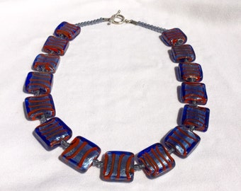 "Glass Square Necklace 18"" and Earrings"