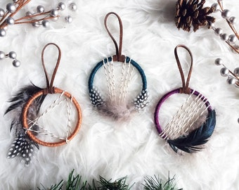 Boho Christmas Ornament - Mini Dream Catcher Ornaments - Bohemian Christmas Gift Topper - Boho Holiday Decor - Jewel Tone Dreamcatcher