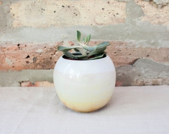 Small Round White & Yellow Ombré Ceramic Planter by Barombi Studios