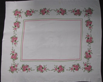 Square TABLECLOTH floral RUSTIC white table linen pink peonies roses 1970s VINTAGE tablecloth
