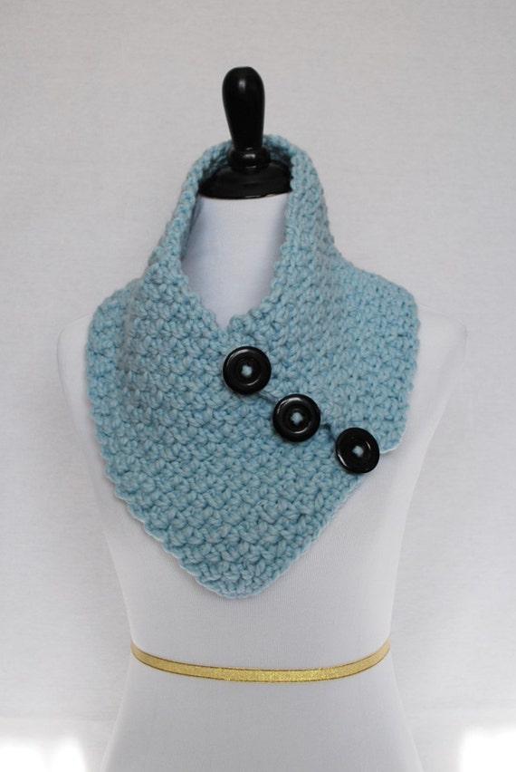 Blue Crochet Scarf, Chunky Button Cowl, Light Blue Crochet Neck Warmer,  Pastel Wrap Scarf, Baby Blue Button Scarf