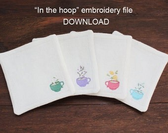 Set of 4 ITH In-the-hoop coaster - machine embroidery file instant download