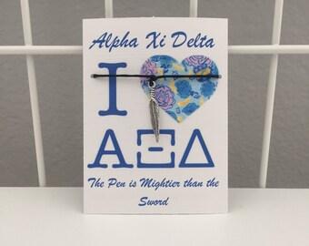 Alpha Xi Delta Quill Wish Bracelet~ ΑΞΔ