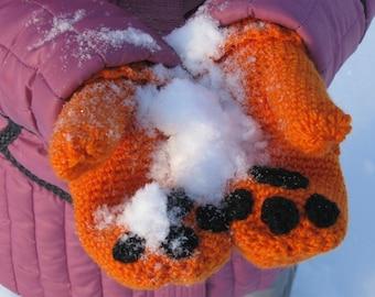 Hand crochet Winter mittens, fancy mittens, fox paws mittens, warm mittens, women's mittens, orange mittens,